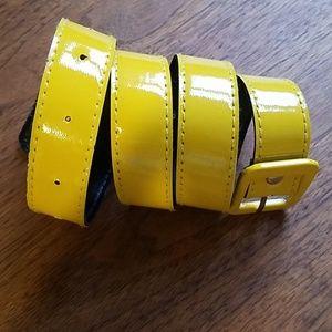 Yellow patent leather belt